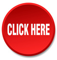click here red round flat isolated push button vector image