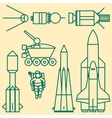Linear set of icons relating to space exploration vector image