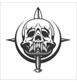 Military Skull - Chevron with daggers vector image