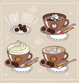 set of cups of coffee in handmade cartoon style vector image