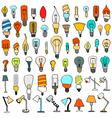 Set of Cute Vintage Bulb Doodle vector image