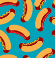 Hot dog pattern Sausage roll and seamless ornament vector image
