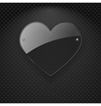 glass heart over metal background vector image vector image