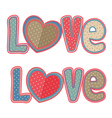 set of isolated vintage word love vector image