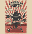 barbecue party flyer template grill fire grilled vector image