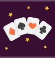 Vintage retro poker cards art style gambler vector image
