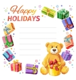 Card Happy holidays frame of gifts and Teddy Bear vector image