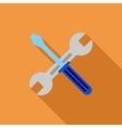 Wrench And Screwdriver Flat Long Shadow Square vector image