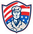 American soldier shield vector image