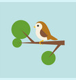 bird on branch icon in flat design vector image
