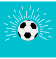 Football soccer ball with ray of light sunlight vector image