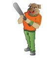 humanoid dog with a baseball bat vector image