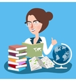 teacher woman with glasses read books with globe vector image