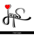 Lagos greetings hand lettering Calligraphy vector image