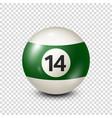 billiardgreen pool ball with number 14snooker vector image