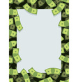 Frame out of money Many dollars flying Space for vector image