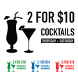 two for ten dollars deal set vector image vector image
