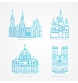 Linear icion set World famous cathedral vector image