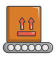 conveyor belt with box icon cartoon style vector image