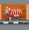 family with children in cart vector image