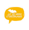 happy halloween lettering with bat vector image