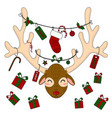 reindeer head with christmas gift boxes and labels vector image