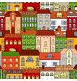 Retro seamless houses of old town streets pattern vector image