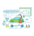 Vehicle assembling flat design vector image vector image