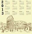 rome colosseum vintage 2013 calendar vector image vector image
