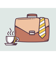 brown business case with cup of coffee vector image