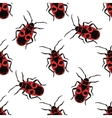 Seamless pattern with bug-soldier or Firebug vector image
