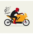 Biker with motorcycle and logotype vector image