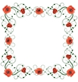 Delicate frame with red poppies isolated on white vector image