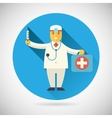 Doctor character with suitcase syringe stethoscope vector image