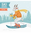 goat skiing on the background winter forest vector image