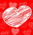 Hand-drawn white heart on red background vector image
