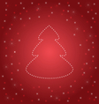 Shining Christmas tree on red vector image