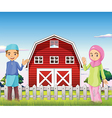 A male and a female muslim in front of a barnhouse vector image vector image
