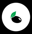 Plum with leaf fruit simple black and green icon vector image