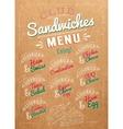 Sandwiches menu kraft vector image vector image