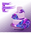 Wedding cake with peacock feathers Violet purple vector image vector image