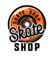 color vintage skate shop emblem vector image