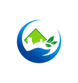 ecology environment hand logo vector image