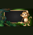 frame template with monkey in the wild vector image