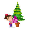 kids getting presents for christmas vector image