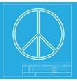 Peace sign White section of icon on vector image