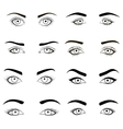 Set of female eyes and brows black image vector image