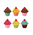 Set of six different cupcakes with cherry on white vector image