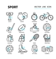 Set modern thin line web icons on sports themes vector image