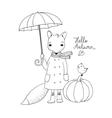 Cute cartoon fox under an umbrella and a small vector image